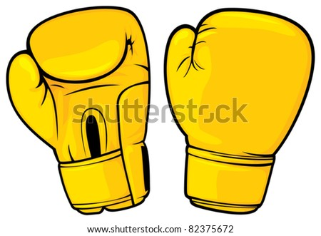 yellow boxing gloves - stock vector