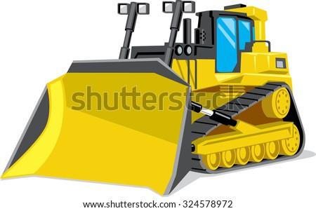 Yellow building bulldozer. Vector illustration. - stock vector