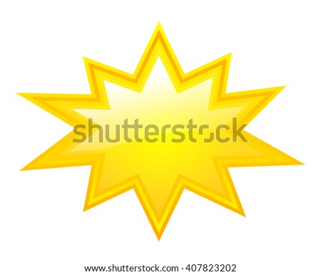 Yellow bursting star vector illustration isolated on white background - stock vector