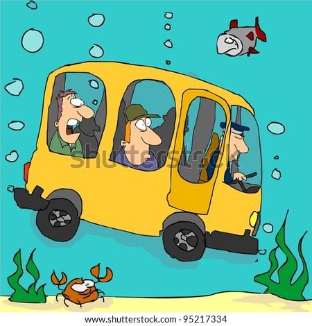 Yellow bus flying under water - stock vector