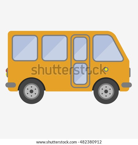 Yellow bus sign icon. Public transport symbol. Flat vector stock illustration.