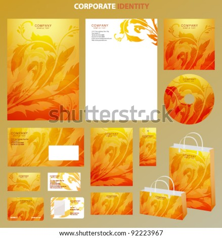 Yellow Business style template with bright floral pattern. This orange backgrounds useful for presentation, business card, envelope, bags, flyers, cd cover documents. Vector design layout with flowers - stock vector