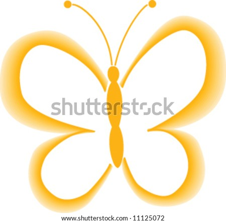 yellow butterfly - stock vector