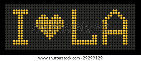 yellow button board words i love LA isolated on black board - stock vector