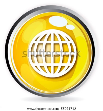 Yellow button globe - stock vector