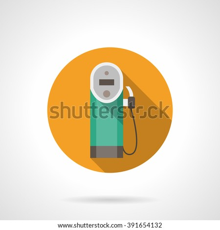 Yellow button with gas station pump old style. Refueling with diesel fuel. Oil industry. Flat color round style vector icon. Web design element for site, mobile and business. - stock vector