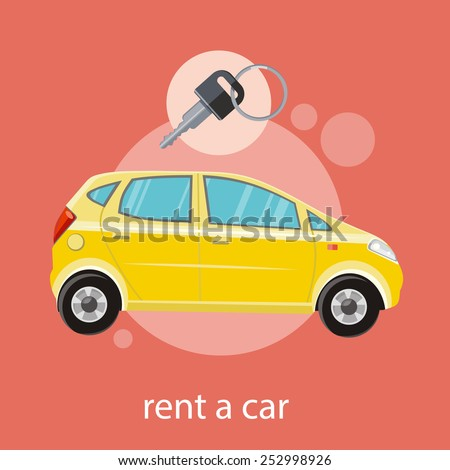 Yellow car with a key. Rent a car concept in flat design cartoon style on stylish background - stock vector
