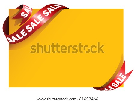 Yellow card with stylish red ribbon - stock vector