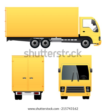 Yellow Cargo Truck - stock vector