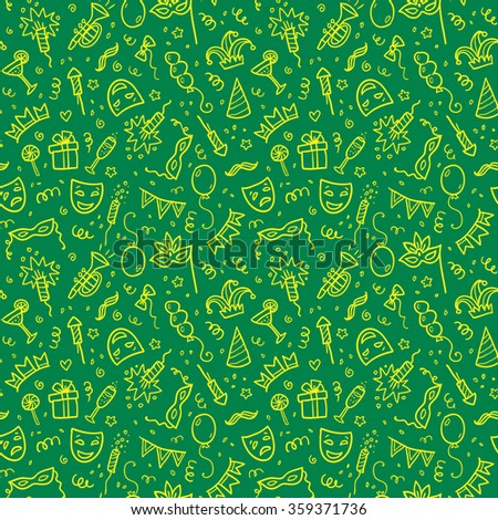 Yellow carnival symbols in doodle style on green background, vector seamless pattern - stock vector
