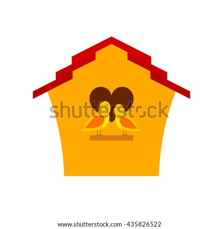 Yellow Cartoon birdhouse with birds. Two birds  singing a song of love.  Spring season. Symbol of family, love and prosperity. A vivid illustration of a happy family  life. Stock vector - stock vector
