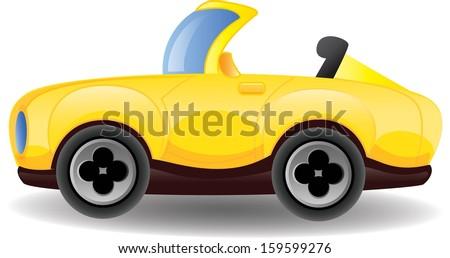 Yellow cartoon car- vector  - stock vector