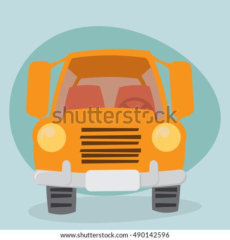 Yellow Cartoon Truck - front view