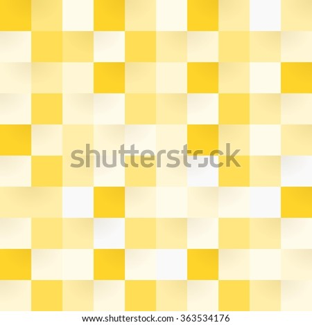 Yellow checkerboard square shapes in seamless pattern - stock vector