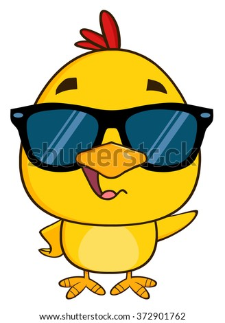 Yellow Chick Cartoon Character Wearing Sunglasses Waving. Vector Illustration Isolated On White - stock vector
