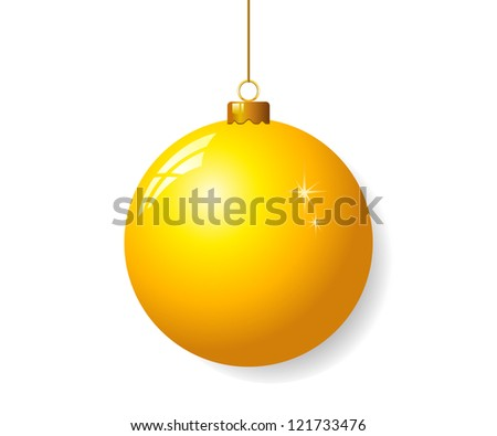 Yellow christmas ball - stock vector