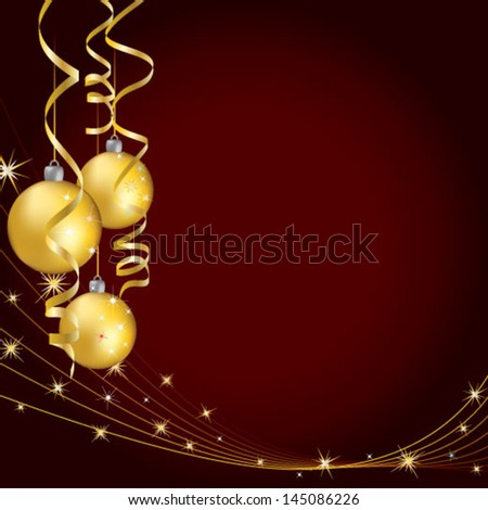 Yellow christmas balls with curling serpentine over dark red - stock vector