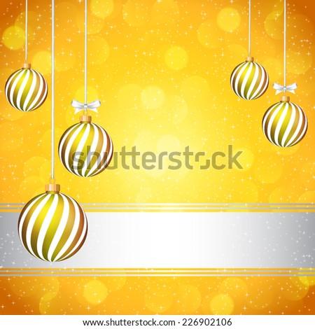 Yellow Christmas card with Christmas balls. - stock vector