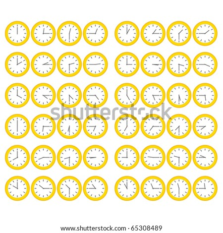 Yellow Clocks Showing All Twelve Hours at Fifteen Minute Intervals - stock vector