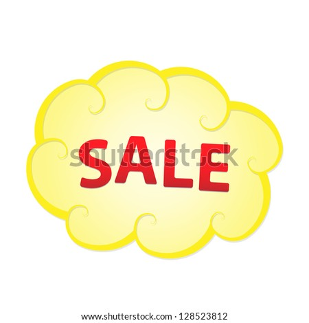 Yellow cloud with sale sign graphic element / sale cloud - stock vector
