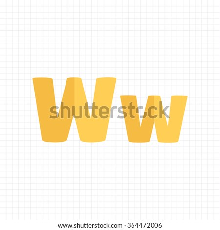 yellow color alphabet letters W - stock vector