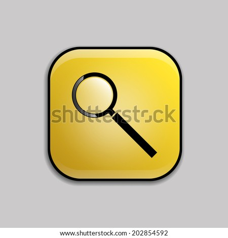 Yellow color glossy web button with search black icon. Vector Illustration. - stock vector