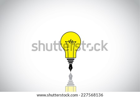 yellow colorful light bulb idea with black fountain pen nib writer student concept. creative innovative unique idea solution writing art illustration with bright white background - stock vector
