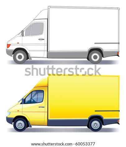 Yellow commercial vehicle - delivery truck - colored and layout - stock vector