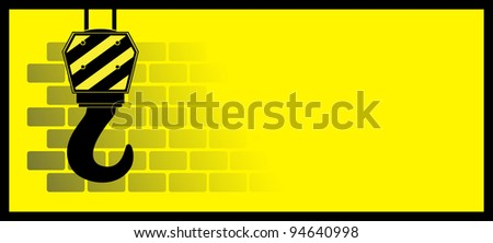 yellow construction background with bricks and hook - stock vector