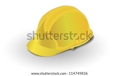 yellow construction helmet isolated - stock vector