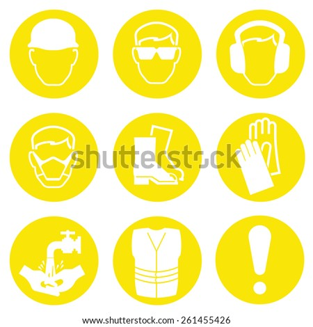 Yellow Construction Industry Health and Safety Icons isolated on white background - stock vector