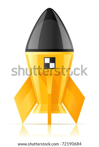 yellow cosmic rocket vector illustration isolated on white background - stock vector