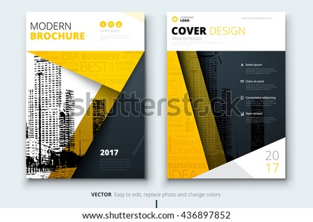 Yellow cover design for brochure. Creative poster, booklet, leaflet or flyer concept. Corporate business template for report, catalog, magazine. Layout with modern flat ribbons and urban style photo.