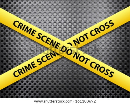Yellow crime scene tape on a metal background. - stock vector