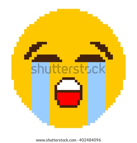 Yellow Cry Face Pixel Art - stock vector