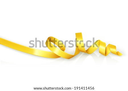 Yellow curled ribbon party, vector - stock vector