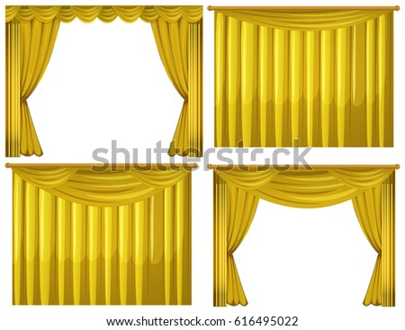 Yellow Curtains In Four Styles Illustration