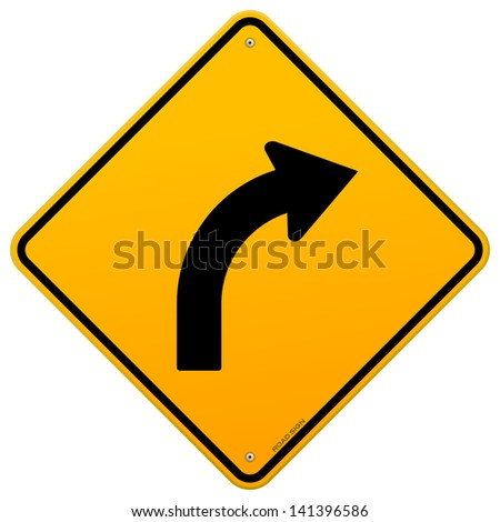 Yellow Curve Sign - stock vector