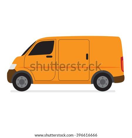 Yellow Delivery Van Transporter in Flat Style Vector - stock vector