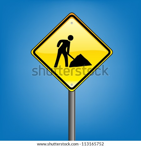 Yellow diamond hazard warning sign against blue sky - under construction warning sign, vector version - stock vector