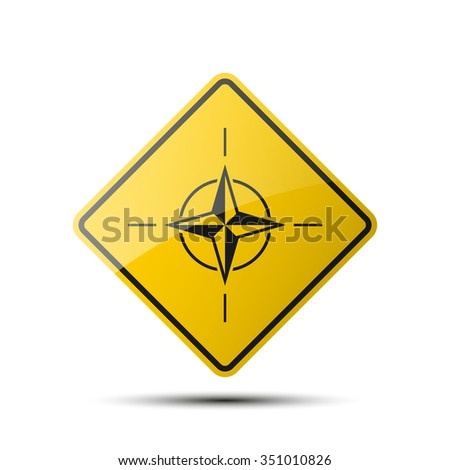 yellow diamond road sign with a black border and an image  star on white background. Vector Illustration