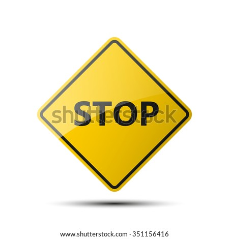 yellow diamond road sign with a black border and an image STOP on white background. Vector Illustration