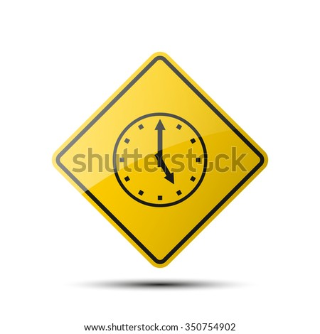 yellow diamond road sign with a black border and an image stopwatch on white background. Vector Illustration - stock vector