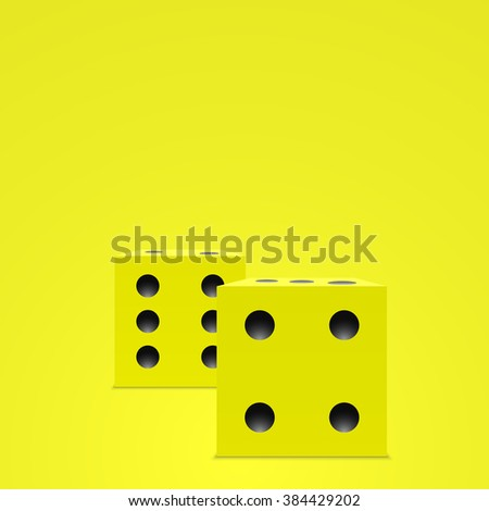 Yellow dice. Yellow cube. 3d cube. Realistic vector. Vector illustration.