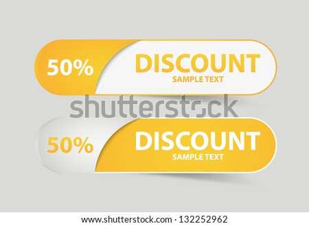Yellow discount cards. Vector Illustration - stock vector