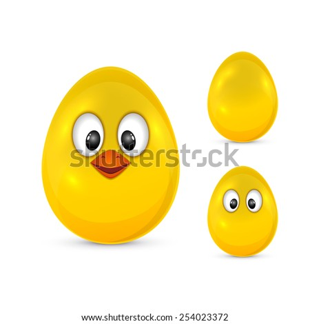 Yellow Easter egg with eyes and beak isolated on white background, illustration - stock vector