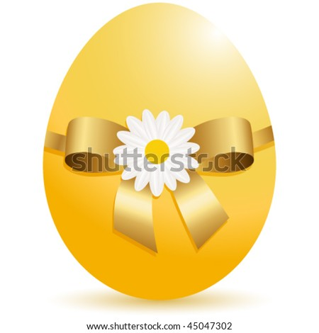 yellow egg with ribbon and flower - stock vector
