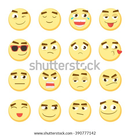 Yellow emoticon set. Collection of Emoji. 3d emoticons. Smiley face icons isolated on white background. Vector eps 10 - stock vector