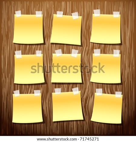 Yellow empty notes on wooden wall (vector background) - stock vector