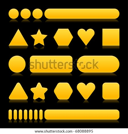 Yellow empty various forms web 2.0 buttons with reflection on black background - stock vector